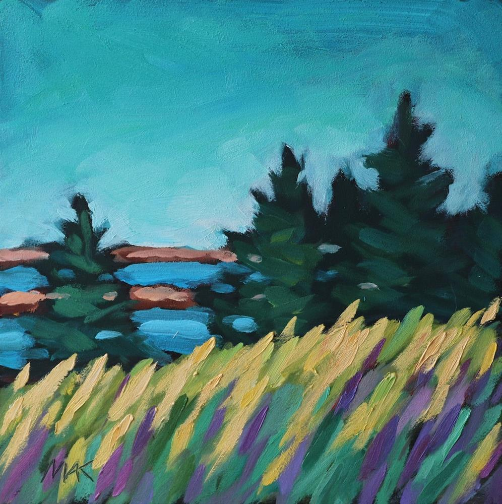 """Field and Water View"" original fine art by Mary Anne Cary"