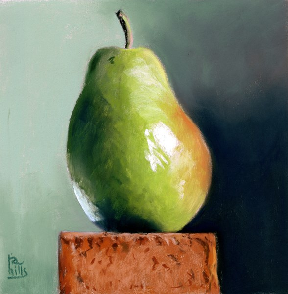 """Paired with a Brick painting of a pear"" original fine art by Ria Hills"