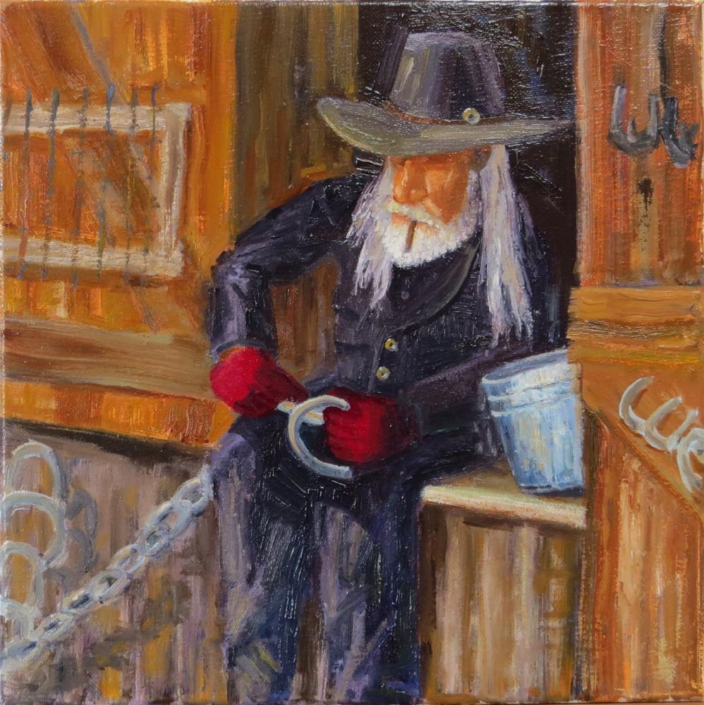 """Blacksmith with Red Gloves"" original fine art by Richard Kiehn"