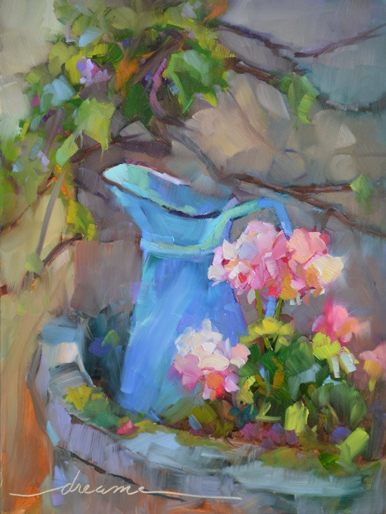 """A Perfectly French Pitcher and Who Are You Working For?"" original fine art by Dreama Tolle Perry"