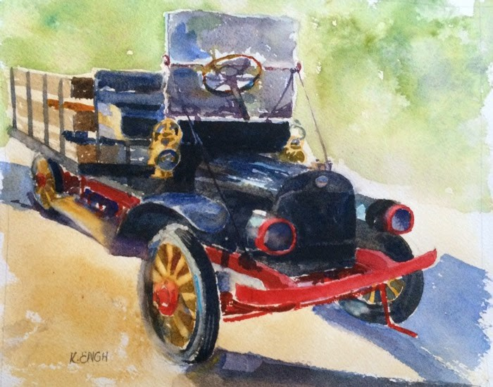 """Cars Cars!"" original fine art by Katharine Engh"