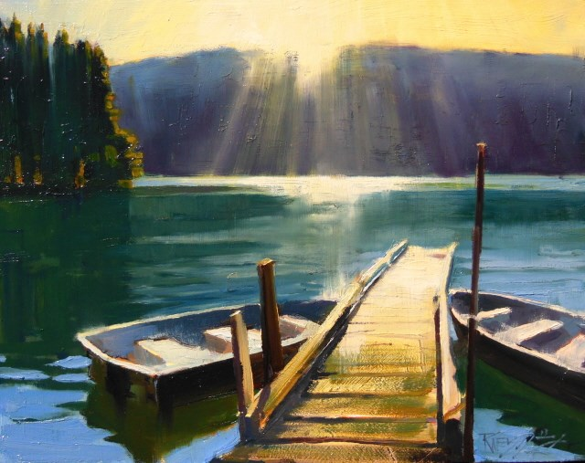 """Morning Breaks on Mountain Lake  8x10 ,plein air , oil painting by Robin Weiss"" original fine art by Robin Weiss"