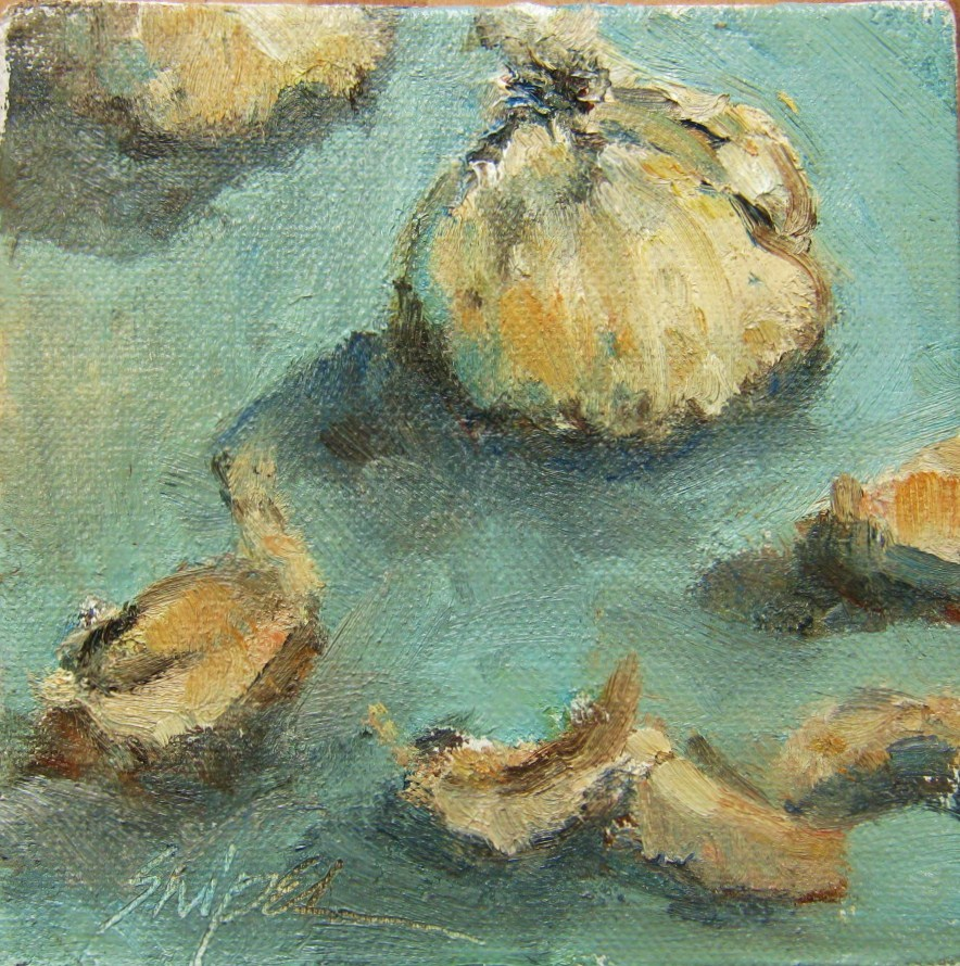 """Cooking with Garlic"" original fine art by Connie Snipes"