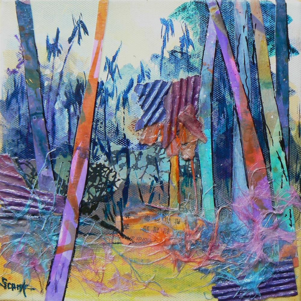 """Art Sale, Mixed Media Collage, Palm Forest by Carol Schiff, 8x8"" original fine art by Carol Schiff"