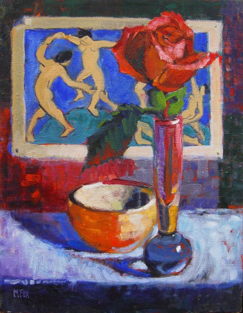 """Matisse Dancers & Rose, figurative oil painting, still life flower, figuration, dancing women"" original fine art by Marie Fox"