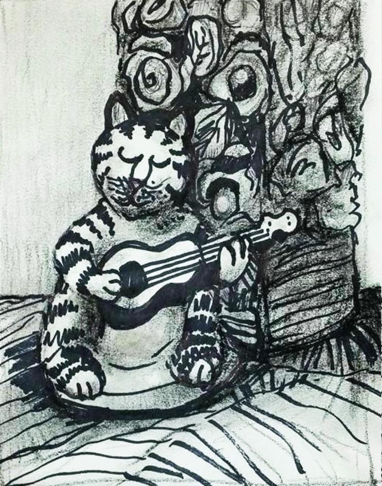 """Playing Cat and Vase"" original fine art by Selby Minner"
