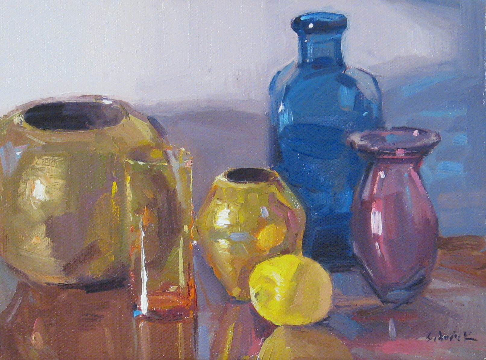 """Lemon with Brass and Glass"" original fine art by Sarah Sedwick"