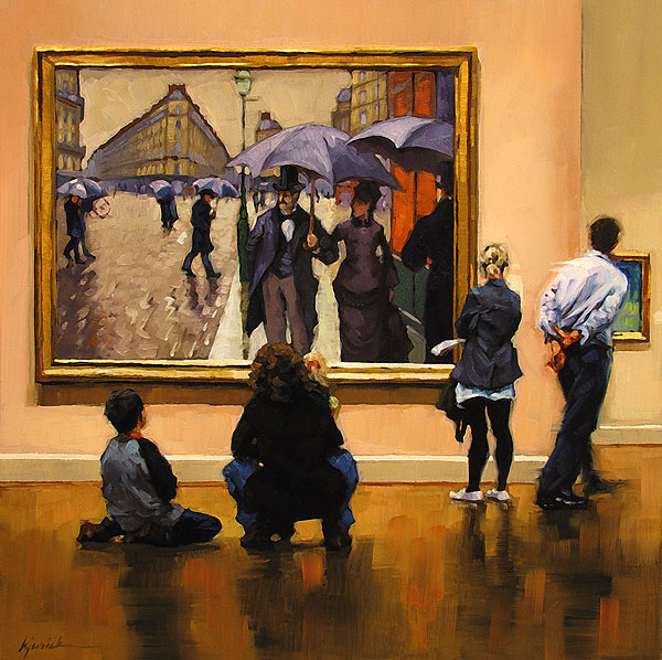 """Sidewalk Glances"" original fine art by Karin Jurick"