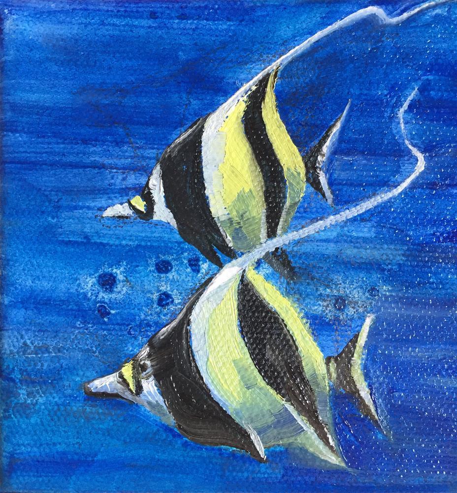 """Angel fish"" original fine art by Natasha Ramras"