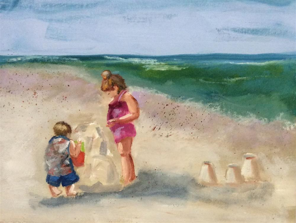 """Siblings by the Sea"" original fine art by Patty Barnes"
