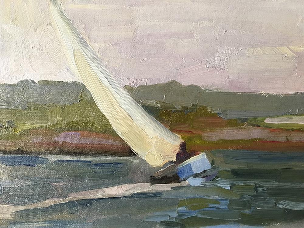"""San Francisco bay sailboat"" original fine art by Sally Rosenbaum"