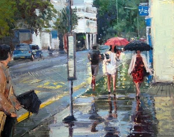 """Rainy Day, Kings Road II (24) Chelsea Marathon"" original fine art by Adebanji Alade"