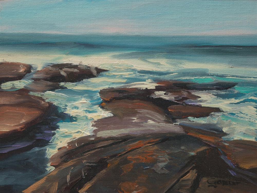 """""""Winter at Nicholson Point in La Jolla 6x8"""" original fine art by Pavel Gazur"""