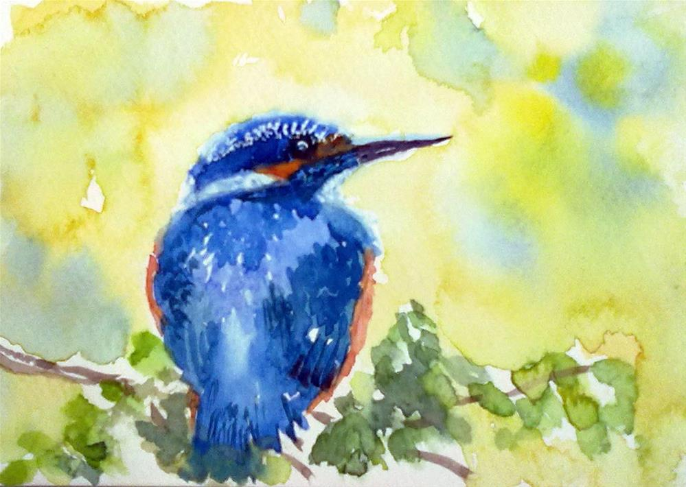 """The Blue Kingfisher"" original fine art by Asha Shenoy S"