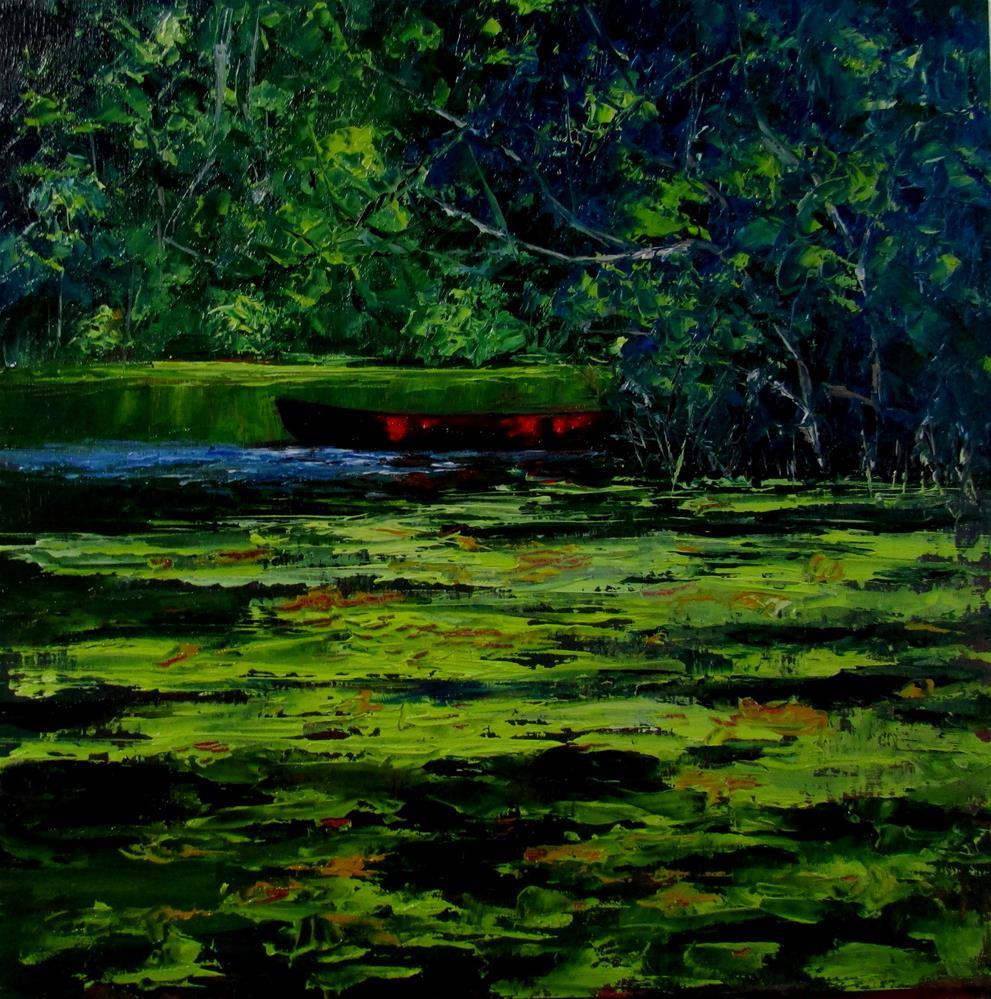 """12 x 12 inch oil Red Canoe"" original fine art by Linda Yurgensen"