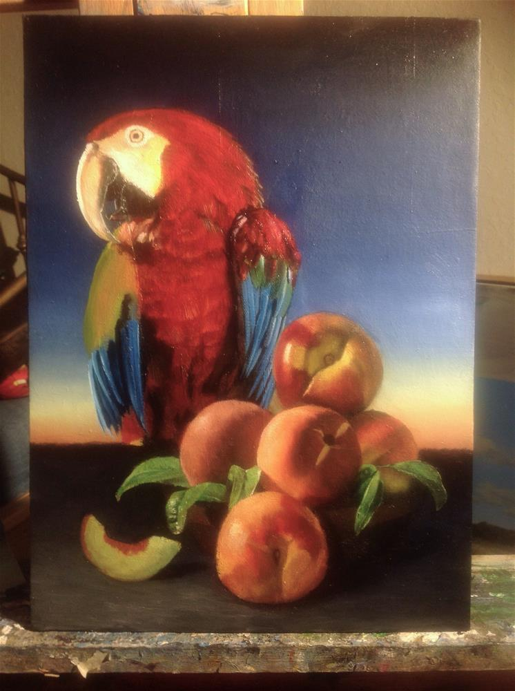 """Peaches and macaw – work in progress"" original fine art by Paulo Jimenez"