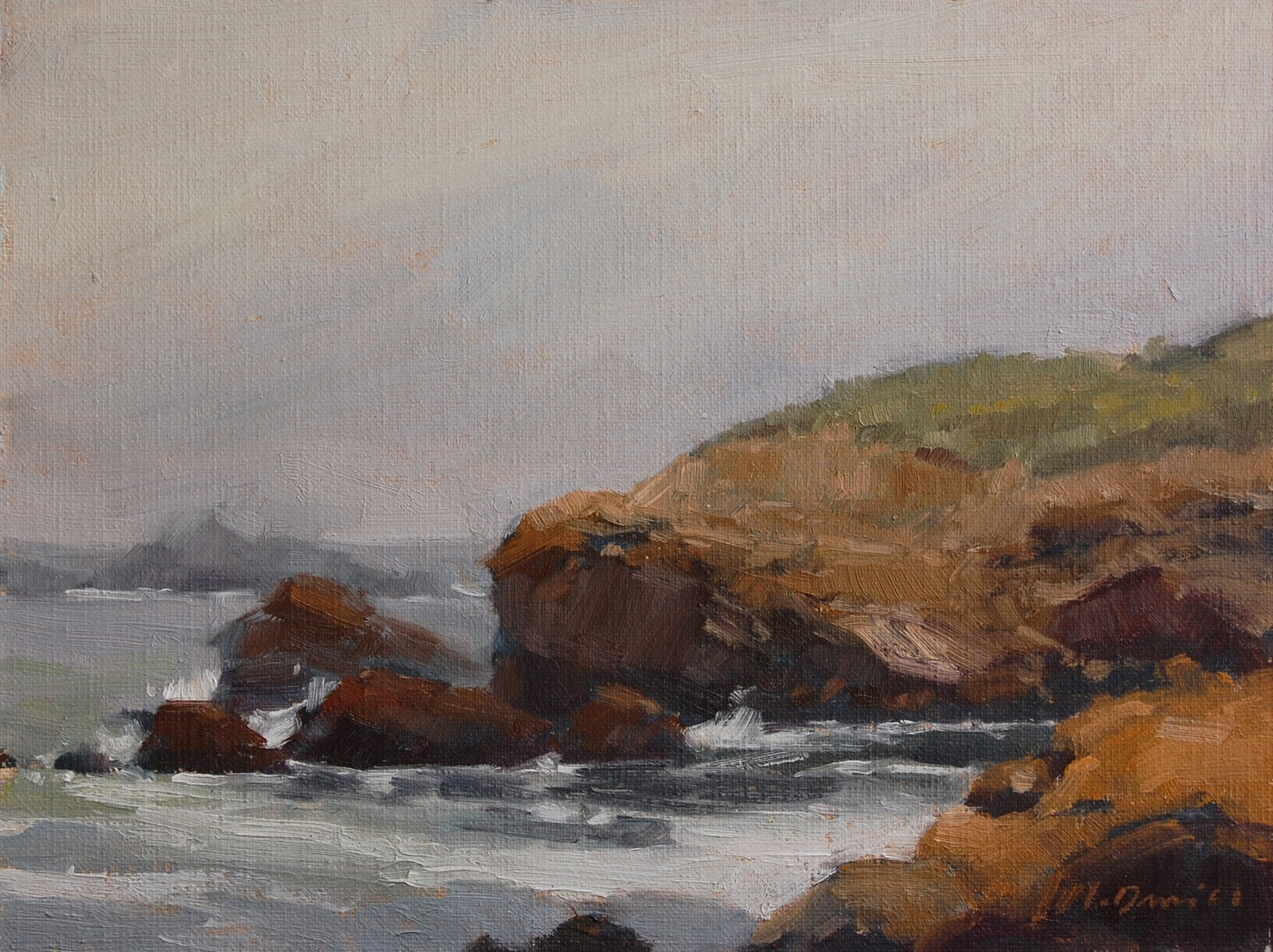 """Mist On The Rocks"" original fine art by Laurel Daniel"