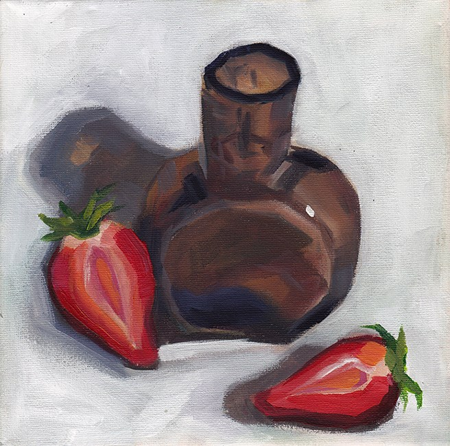 """Brown Glass and Strawberries"" original fine art by J M Needham"