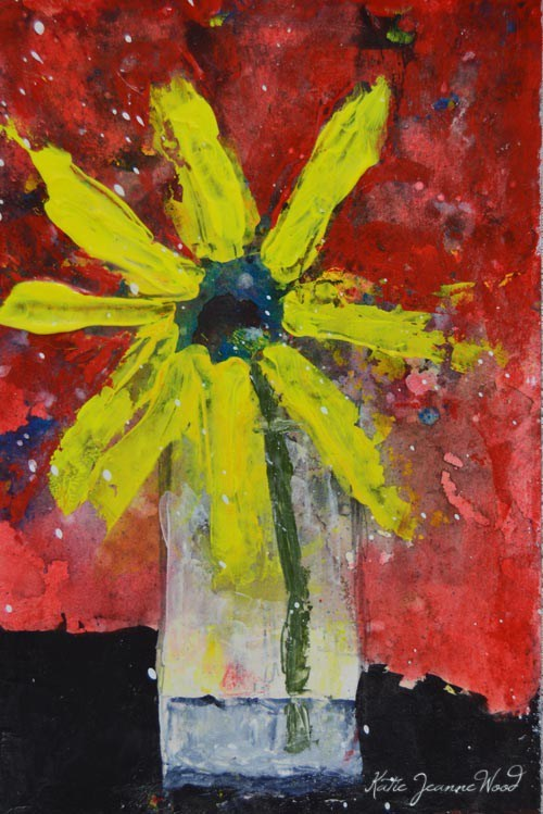 """Yellow Daisy Floral Painting No 207"" original fine art by Katie Jeanne Wood"