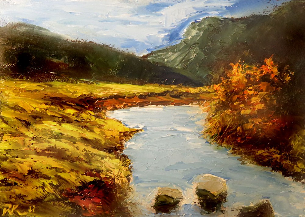 """RIver Rocks"" original fine art by Bob Kimball"