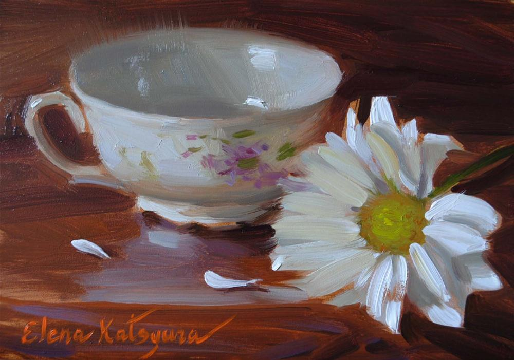 Teacup and Daisy original fine art by Elena Katsyura