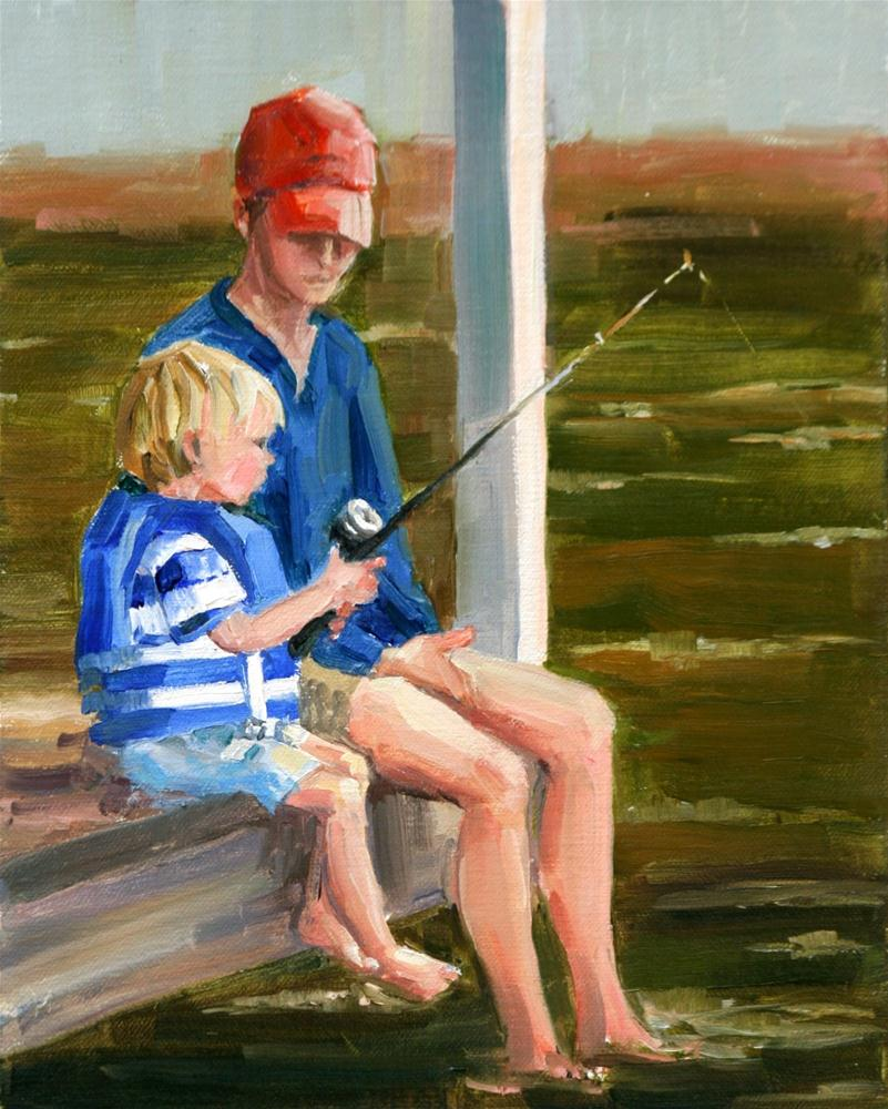 """you get a line and I'll get a pole"" original fine art by Carol Carmichael"