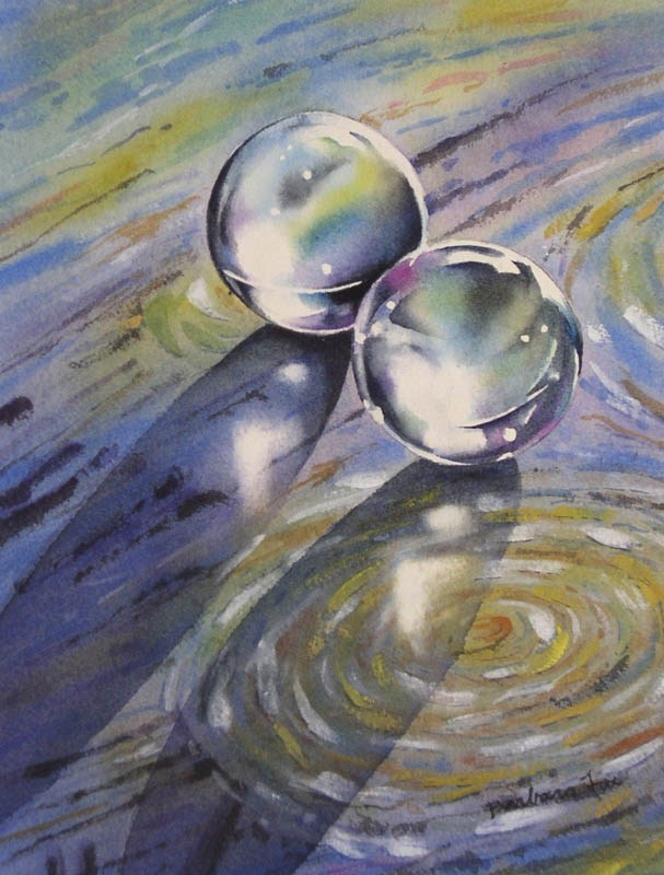 """CRUISING ON A STARRY NIGHT watercolor still life painting"" original fine art by Barbara Fox"