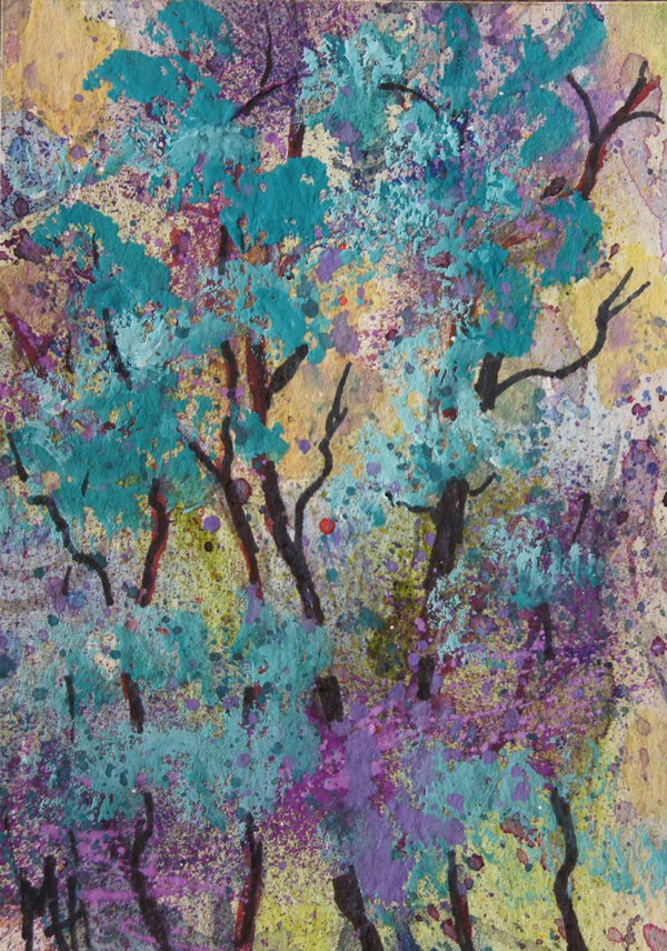 """Abstract trees gouache ACEO"" original fine art by Marion Hedger"