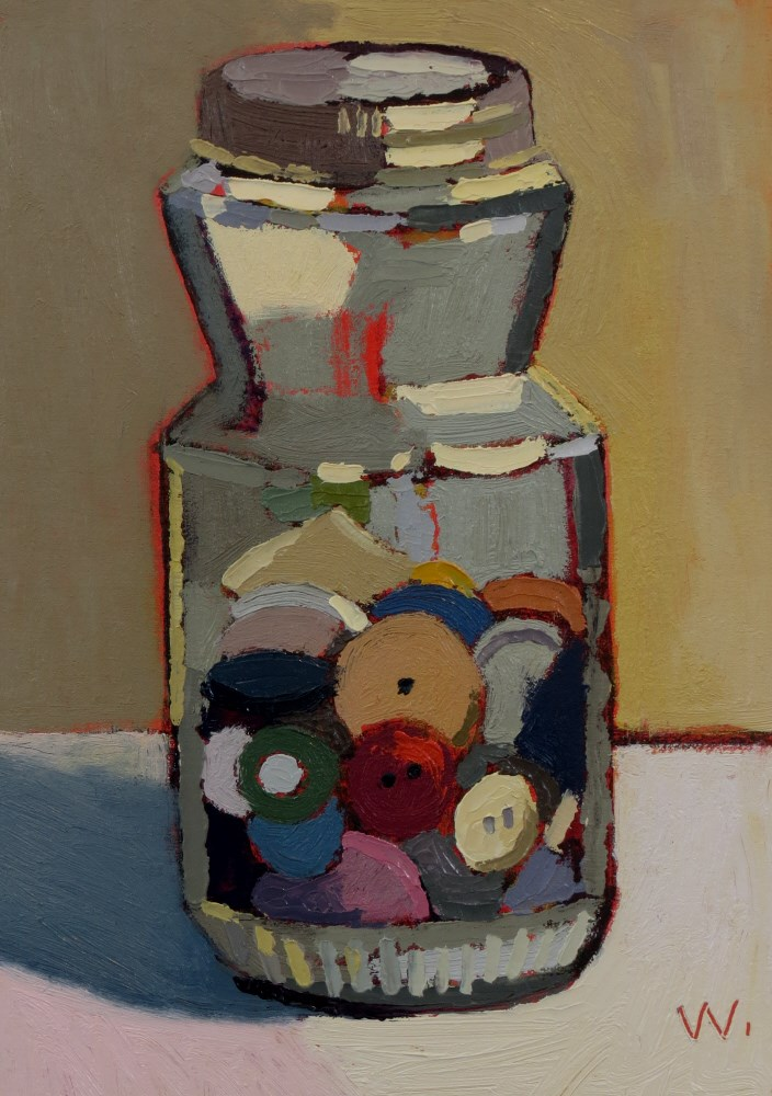 """Button Jar"" original fine art by Joan Wiberg"