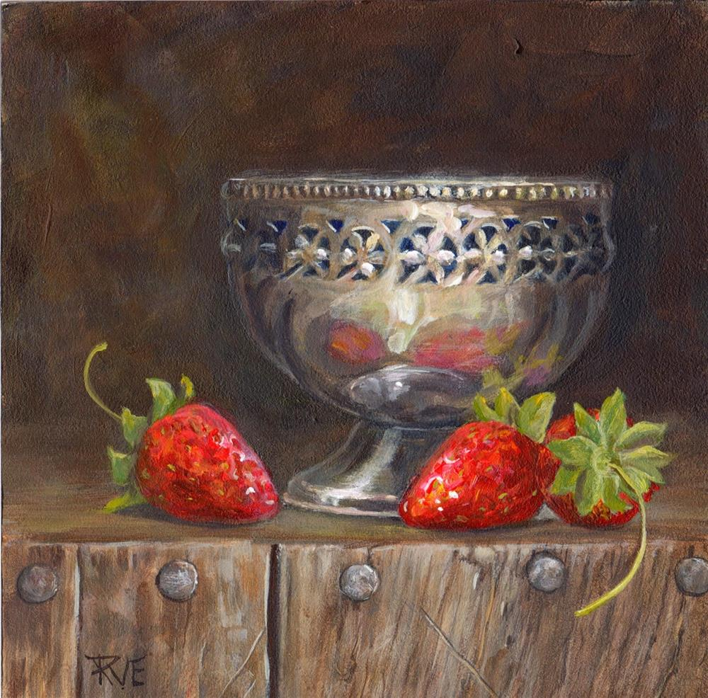 """Strawberries and silver bowl"" original fine art by Ruth Van Egmond"