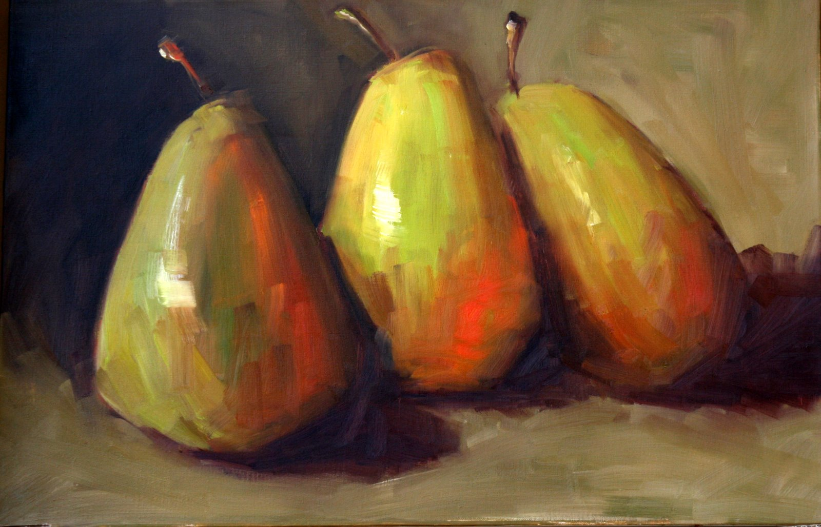 """""""really big pears"""" original fine art by Carol Carmichael"""