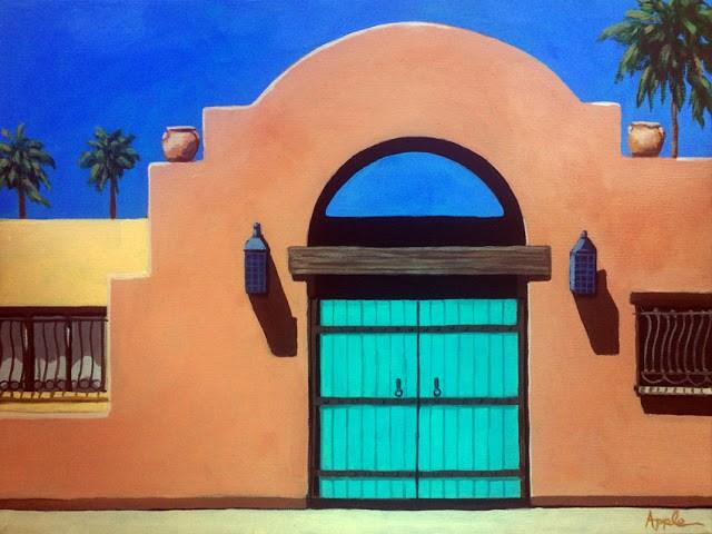 """Adobe southwest architecture landscape painting"" original fine art by Linda Apple"