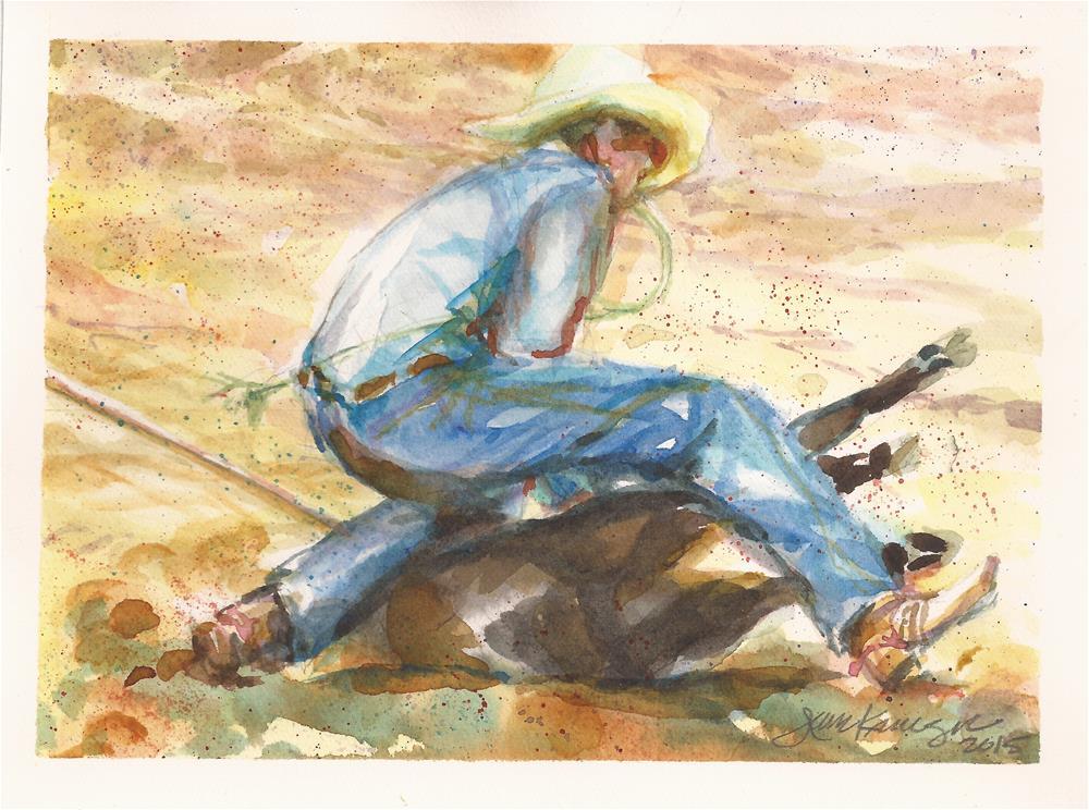 """Calf Roping"" original fine art by Jean Krueger"