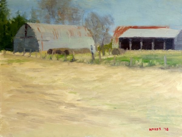 """Hay Barns"" original fine art by Weston Hobdy"