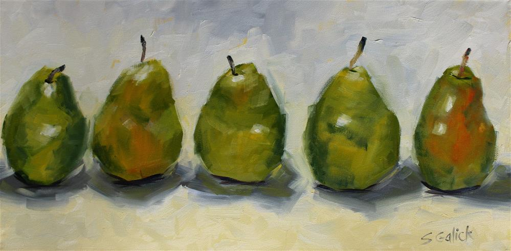 """Five Pears Standing"" original fine art by Susan Galick"