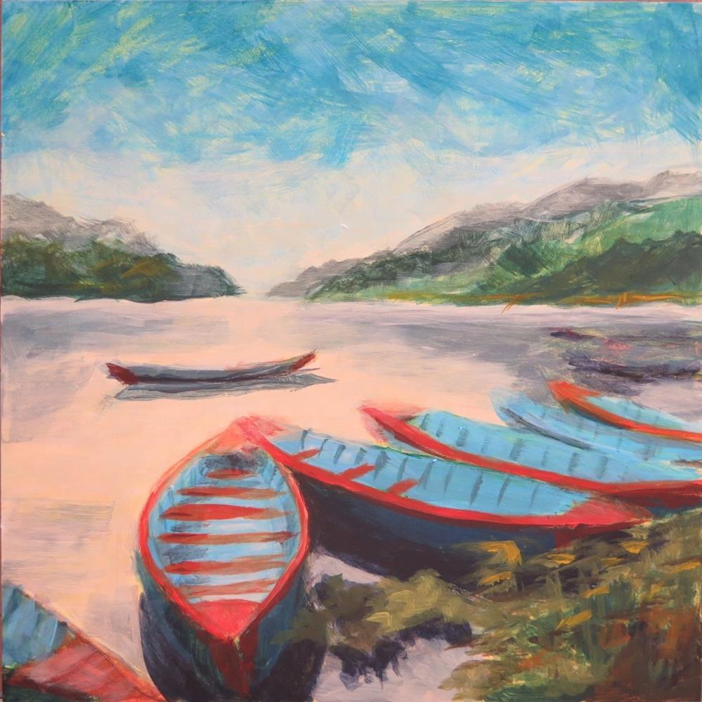 """""""Blue Boats"""" original fine art by Kayla Smith"""