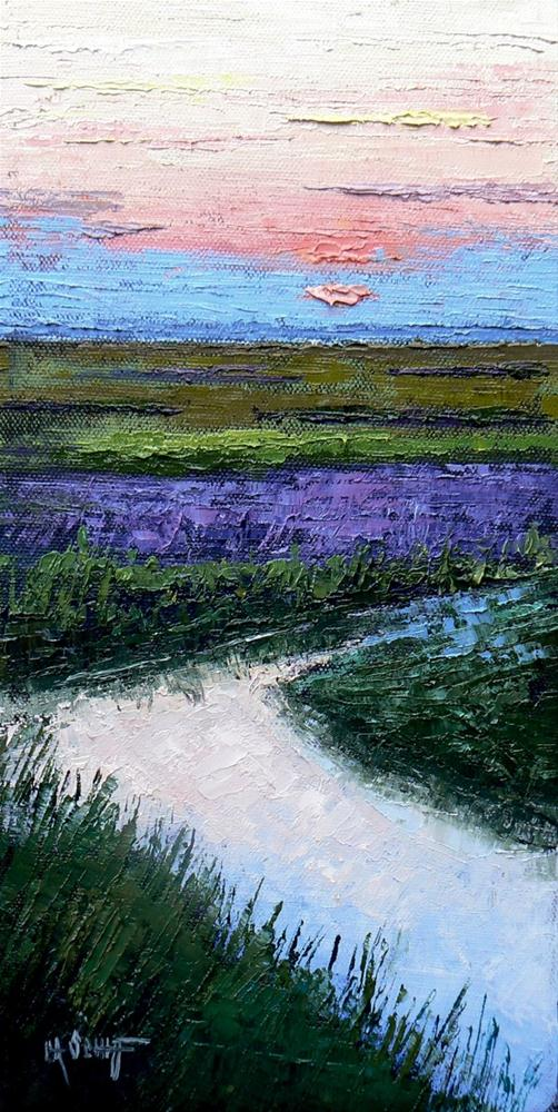 """Landscape Marsh Sunset Painting, 12x6 SOLD Daily Painting"" original fine art by Carol Schiff"