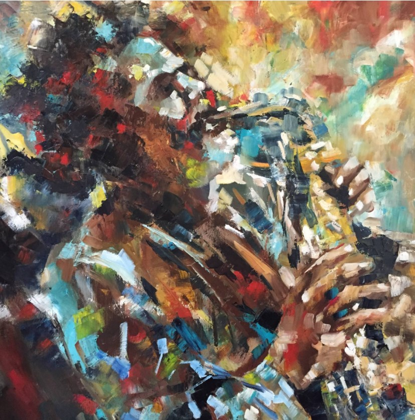 """""""The Jazz Player"""" original fine art by Thong Le"""