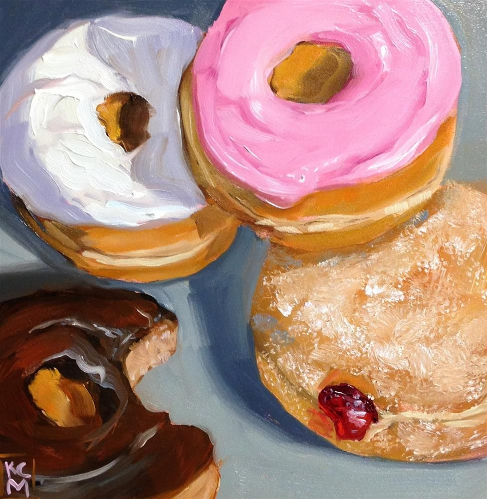 """Who Took That Bite? 8x8 Inch Oil Painting of Donuts by Kelley MacDonald"" original fine art by Kelley MacDonald"