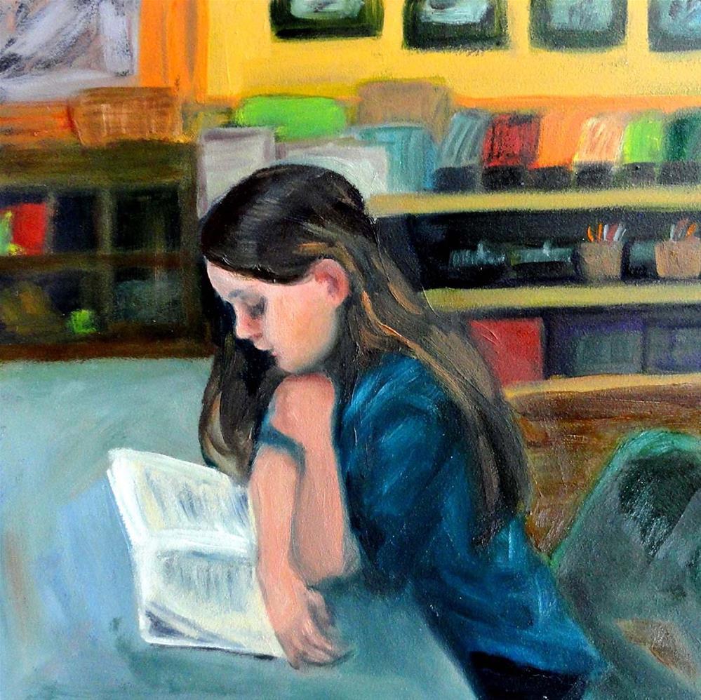 """""""Quiet Reading"""" original fine art by Cietha Wilson"""