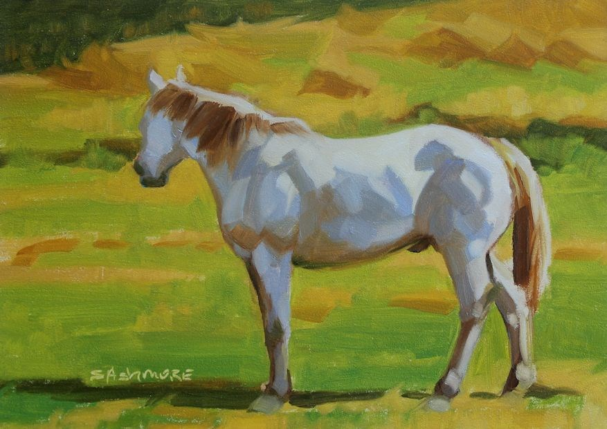 """Evening with a white horse"" original fine art by Susan Ashmore"