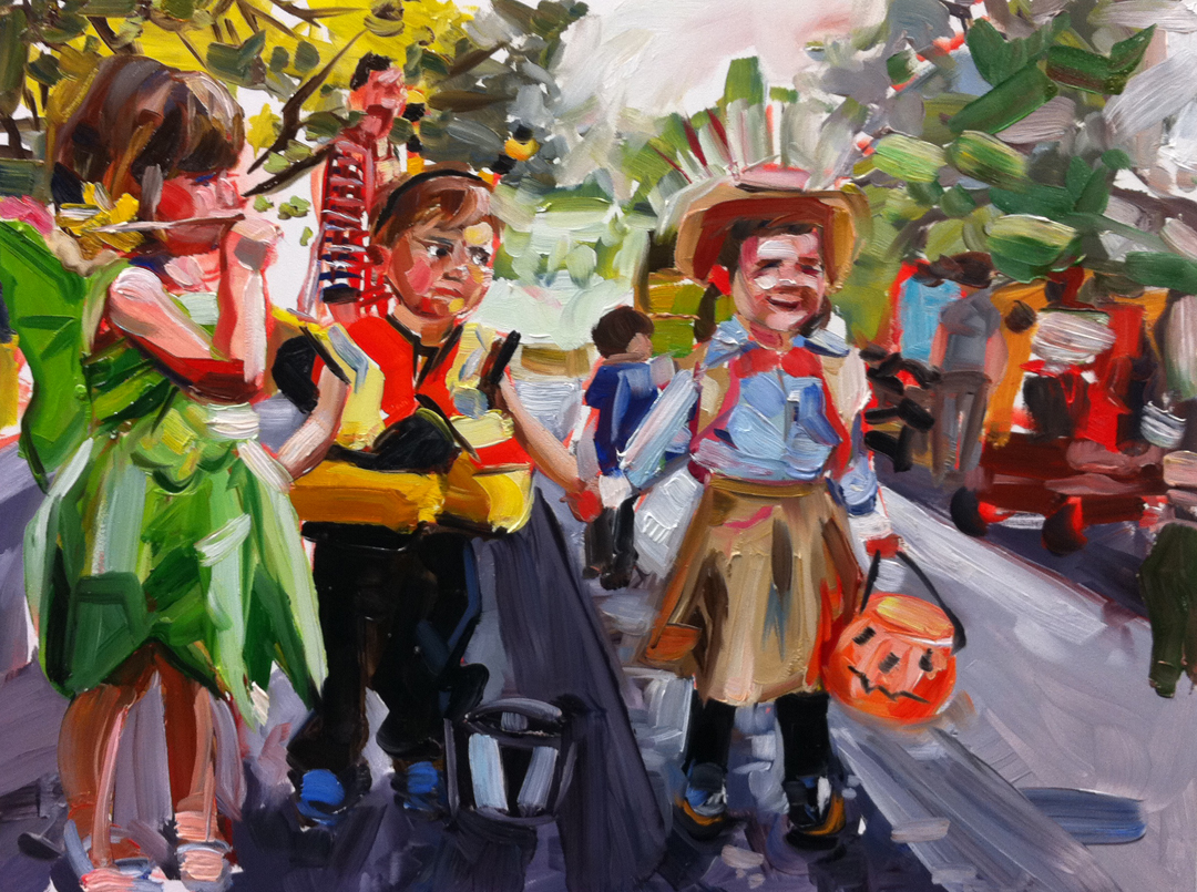 """Halloween Parade"" original fine art by Katy O'Connor"