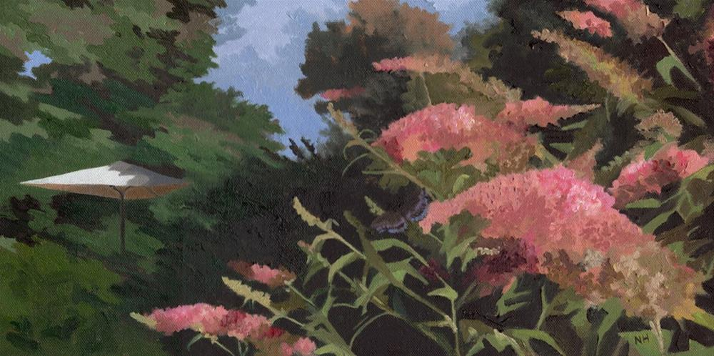 """Swallowtail, Buddleia and Umbrella"" original fine art by Nancy Herman"
