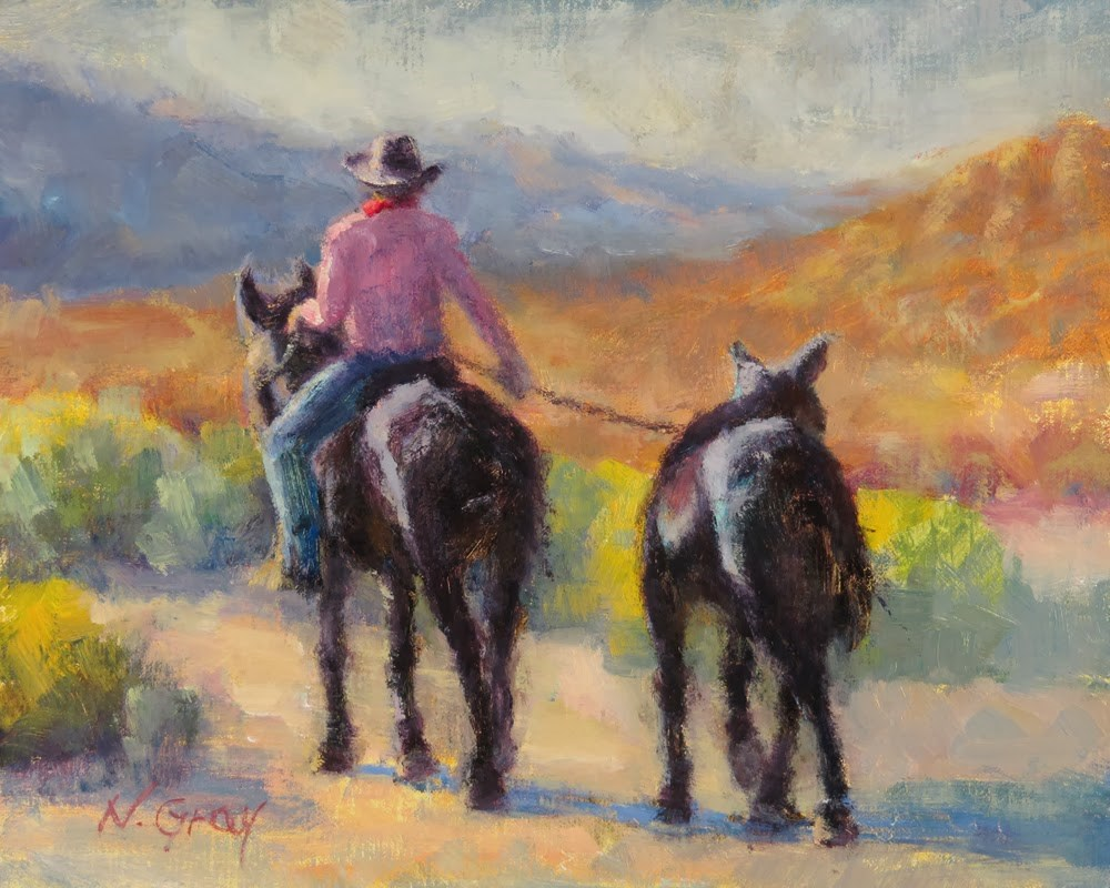 """Mule Train of Two"" original fine art by Naomi Gray"
