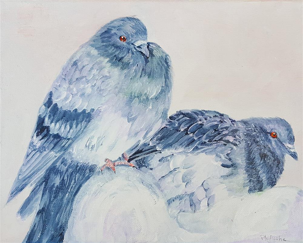 """'Amanda's Pigeons'"" original fine art by Phyllisha Hamrick"