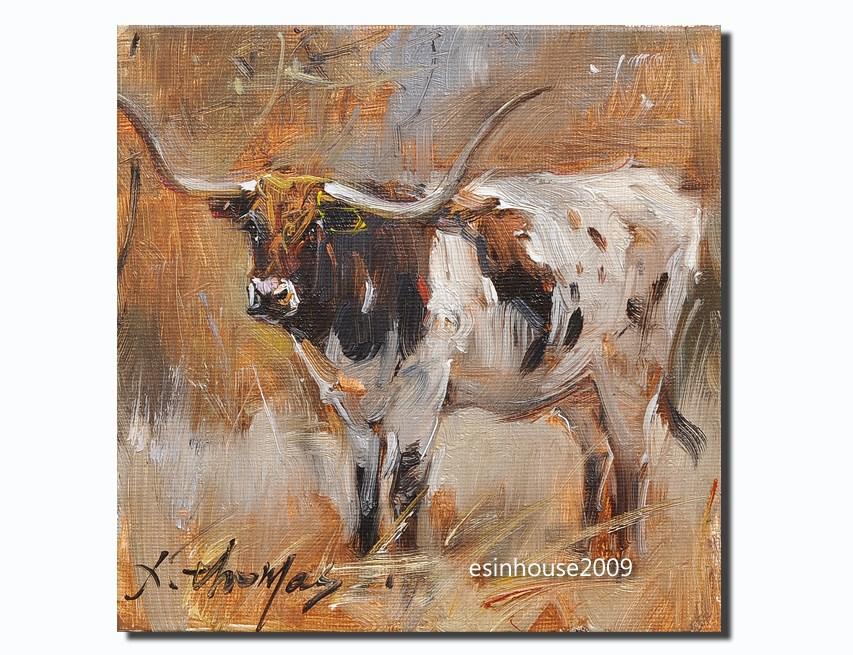 """Texas longhorn Farm animals Cow portrait Original Oil Painting Minimalist"" original fine art by Thomas Xie"