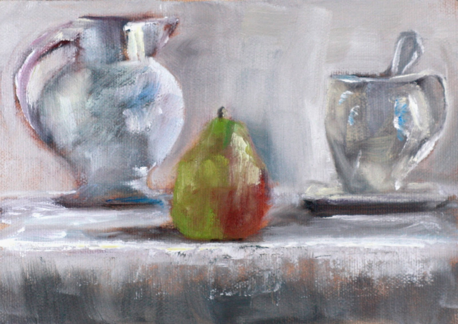 """oil painting still life with pear, pitcher and cup"" original fine art by Carrie Venezia"