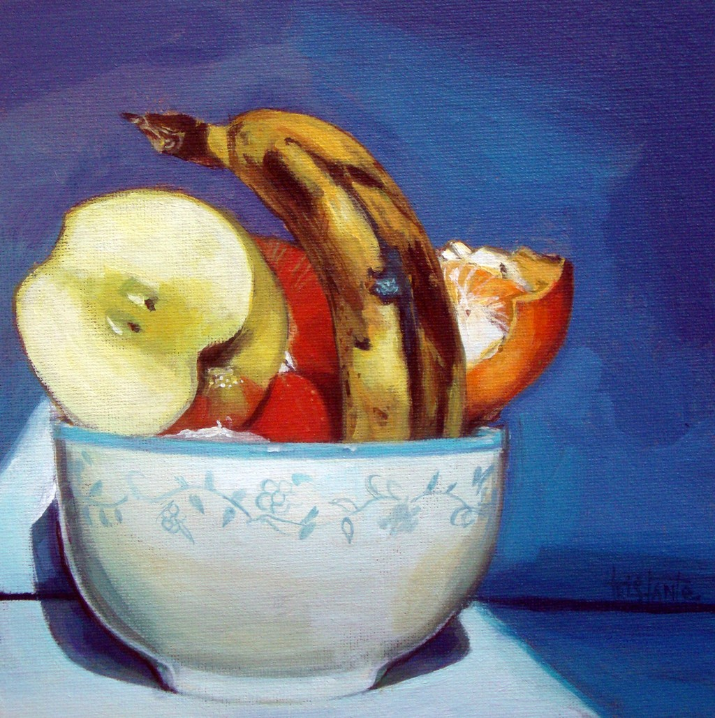 """Bowl of fruits"" original fine art by Víctor Tristante"