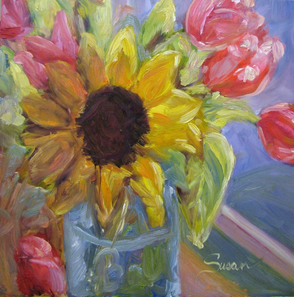 """Sunflower in the Windowsill"" original fine art by Susan Elizabeth Jones"