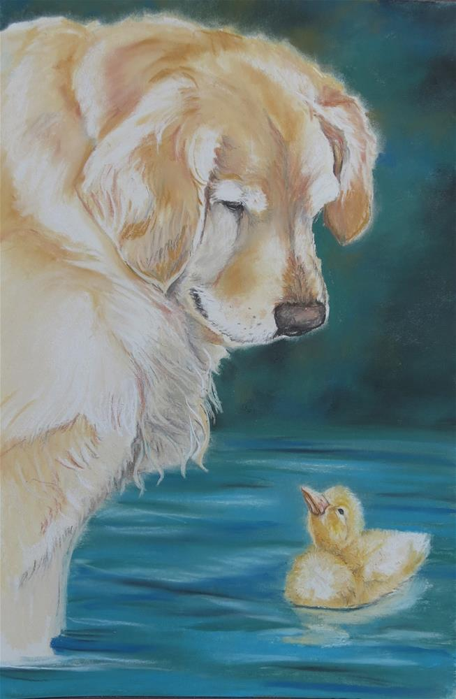 """Golden Retriever and duckling"" original fine art by Charlotte Yealey"